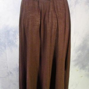 Carol Horn Brown/Beige Striped Full Length Skirt